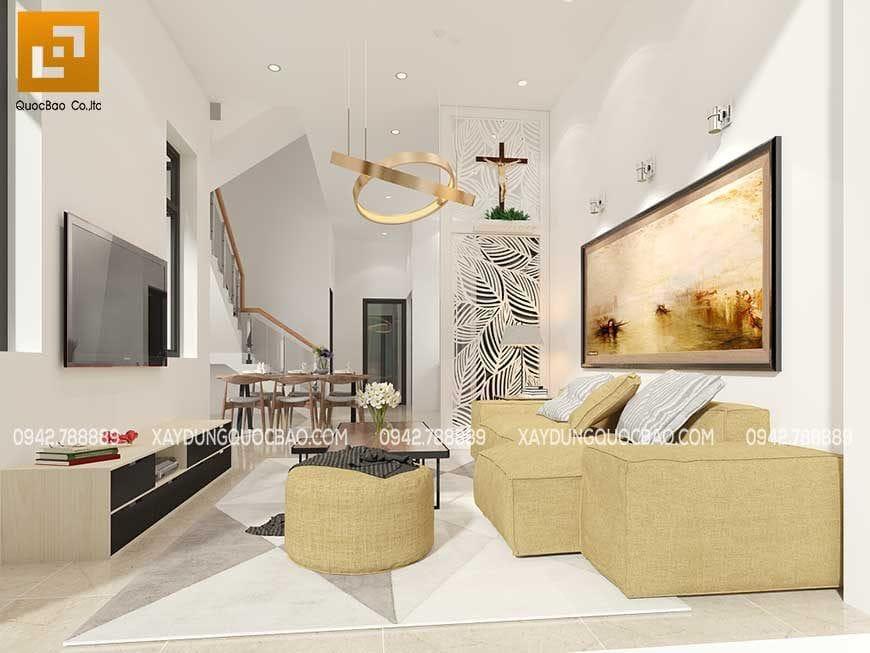 Nội thất phòng khách nhà phố 2 tầng anh Phương tại Biên Hòa