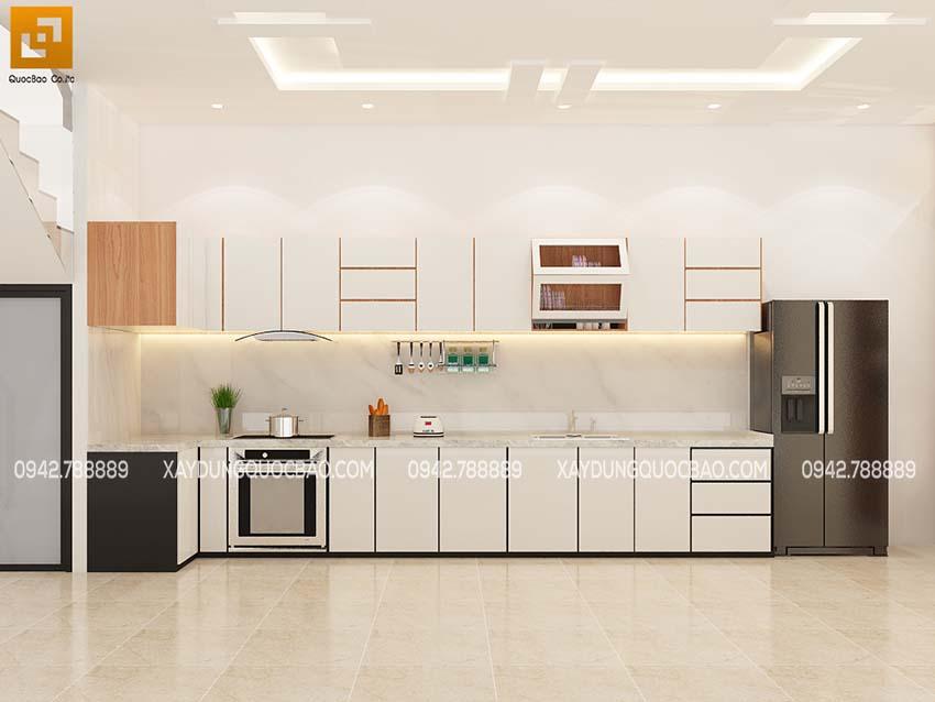 Phối cảnh nội thất phòng bếp nhà phố hiện đại