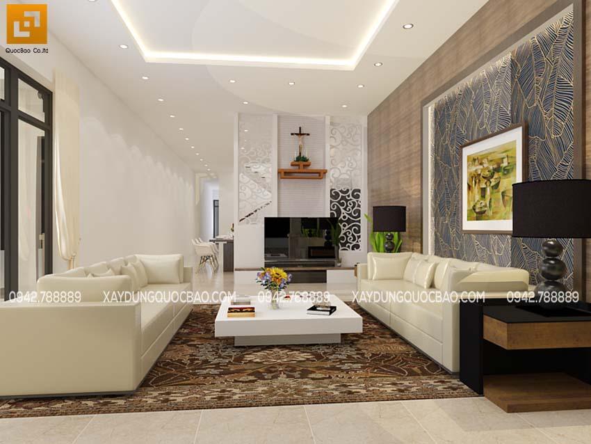 Phối cảnh thiết kế phòng khách nhà phố 2 tầng 1 tum