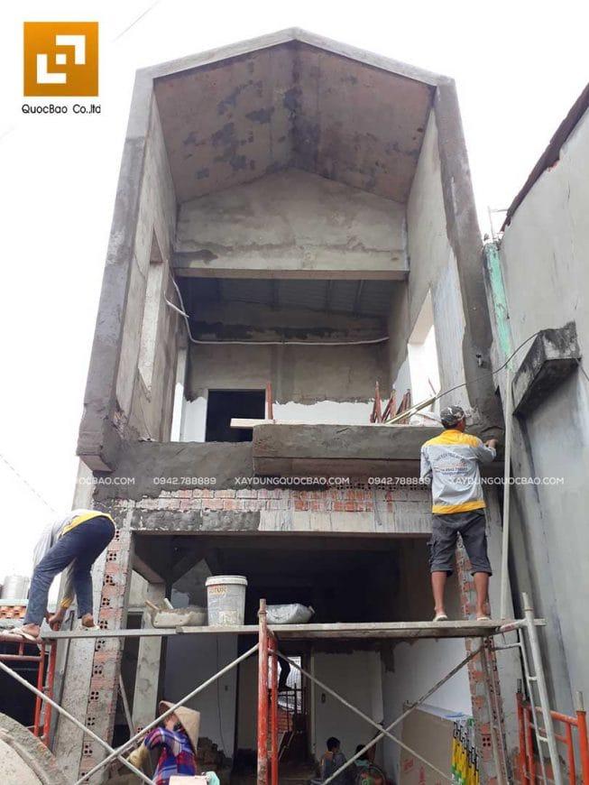 Công tác xây tô nhà phố 2 tầng - Ảnh 4
