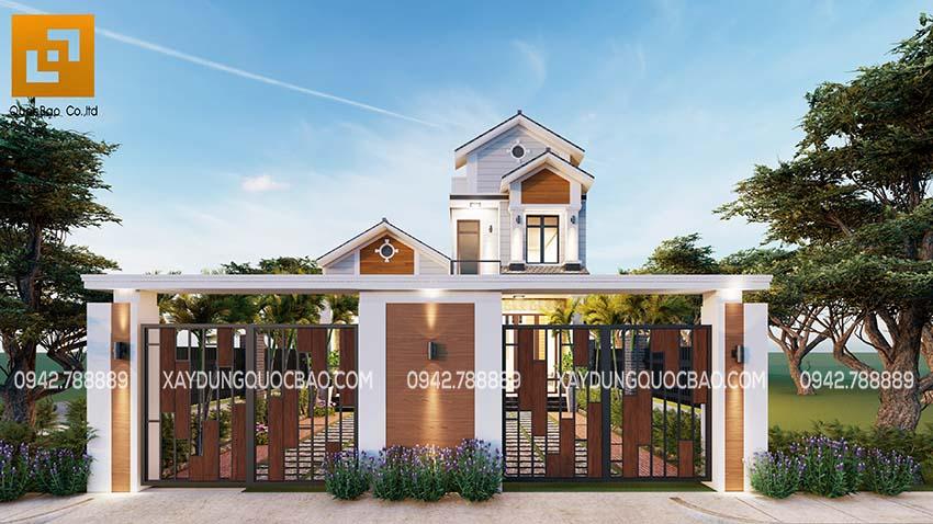 Thiết kế cổng nhà phố đẹp mà đơn giản