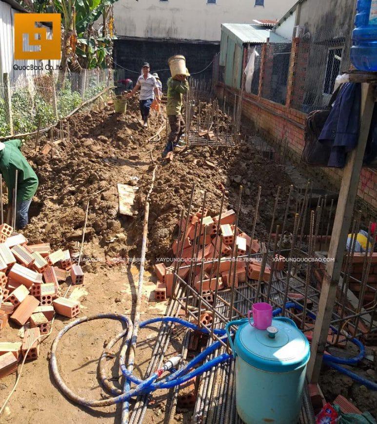 Công tác đổ bê tông móng