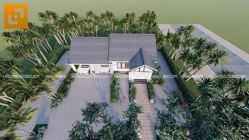 Toàn cảnh biệt thự sân vườn tại Biên Hòa nhìn từ trên cao
