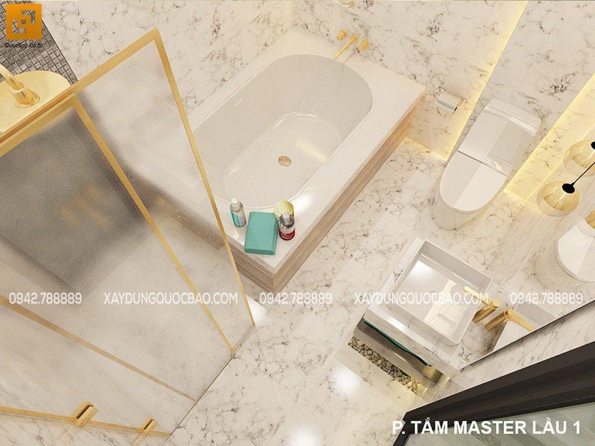 Bồn tắm nằm, lavabo để bàn, cửa kính mở trượt trong tổng thể căn phòng tắm sang trọng, cao cấp