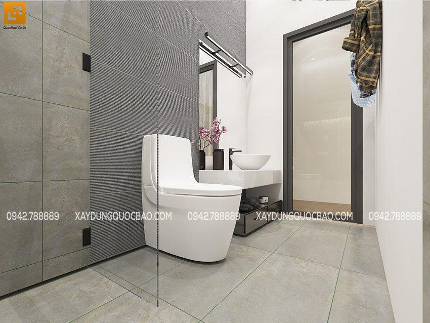 Góc nhìn từ phòng vệ sinh ra phía ngoài phòng ngủ