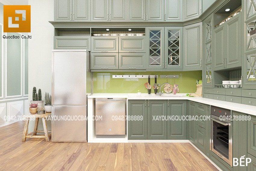 Nhiều vật dụng hiện đại ở nhà bếp như: Máy rửa chén, tủ bếp thông minh, máy hút mùi, lò nướng, lò vi sóng...