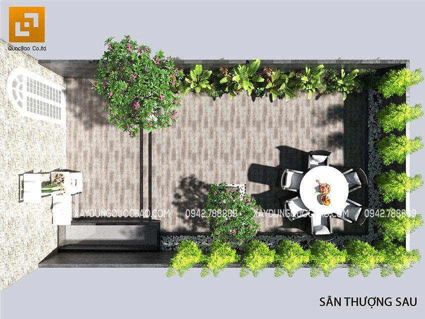 Khu vực phía sau của sân thượng đặt bộ bàn ghế ngoài trời để ngắm cảnh, thưởng trà và nghỉ ngơi