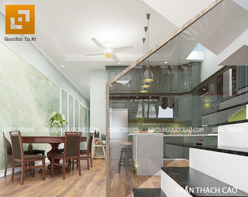 Khu vực phòng bếp và nhà ăn được bố trí phía sau phòng khách và phòng làm việc