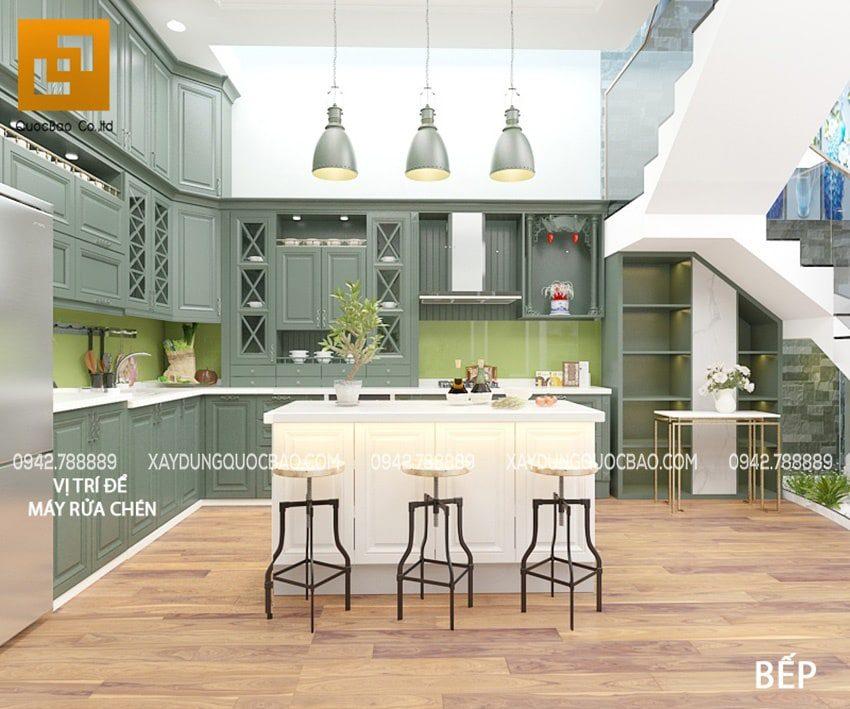 Phòng bếp hiện đại đầy đủ tiện nghi được trang hoàng với màu xanh lam yêu kiều, nữ tính