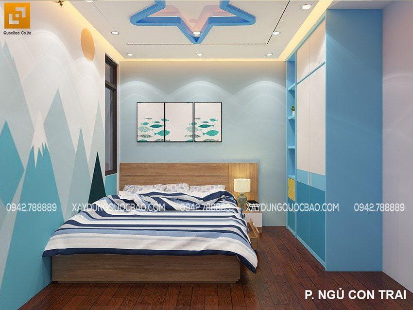 Phòng ngủ bé trai được trang trí gam màu xanh vui mắt, tinh nghịch