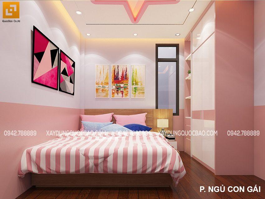 Phòng ngủ của bé gái được tô màu hồng nữ tính, dễ thương
