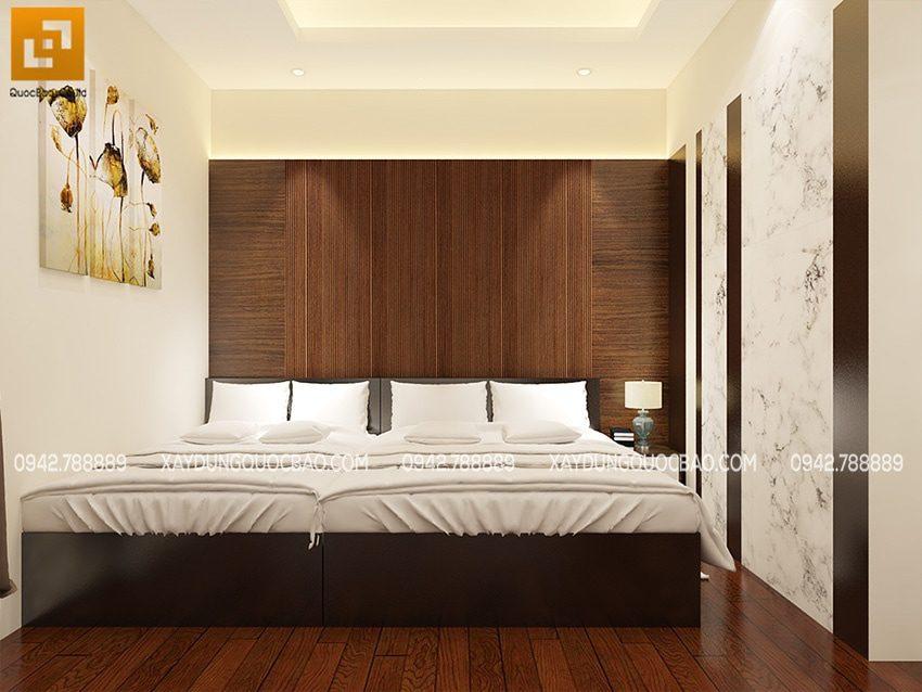 Phòng ngủ master của bố mẹ đặt 2 giường đôi, gam màu trung tính dễ chịu
