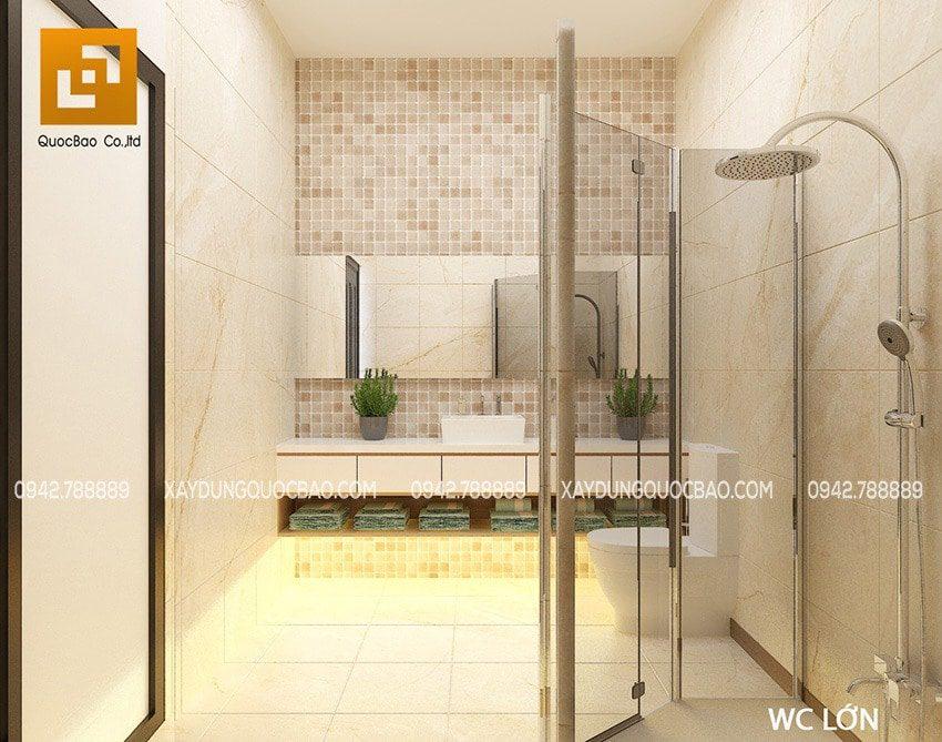 Ngoài ra, tầng trệt còn có 1 phòng tắm + phòng vệ sinh chung cho cả gia đình và khách khứa
