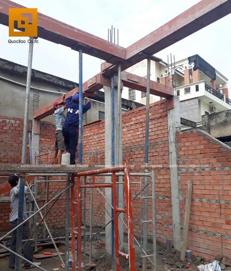 Công tác lắp đặt coppha dầm tầng 2