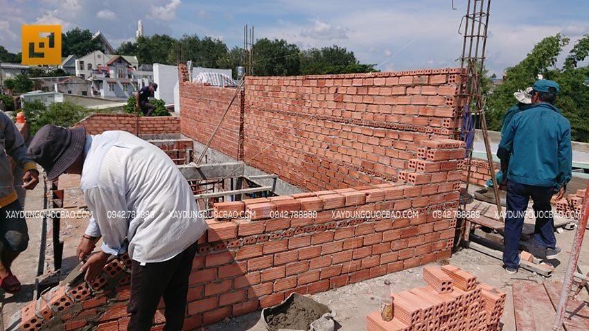 Công tác xây tường gạch, vách ngăn
