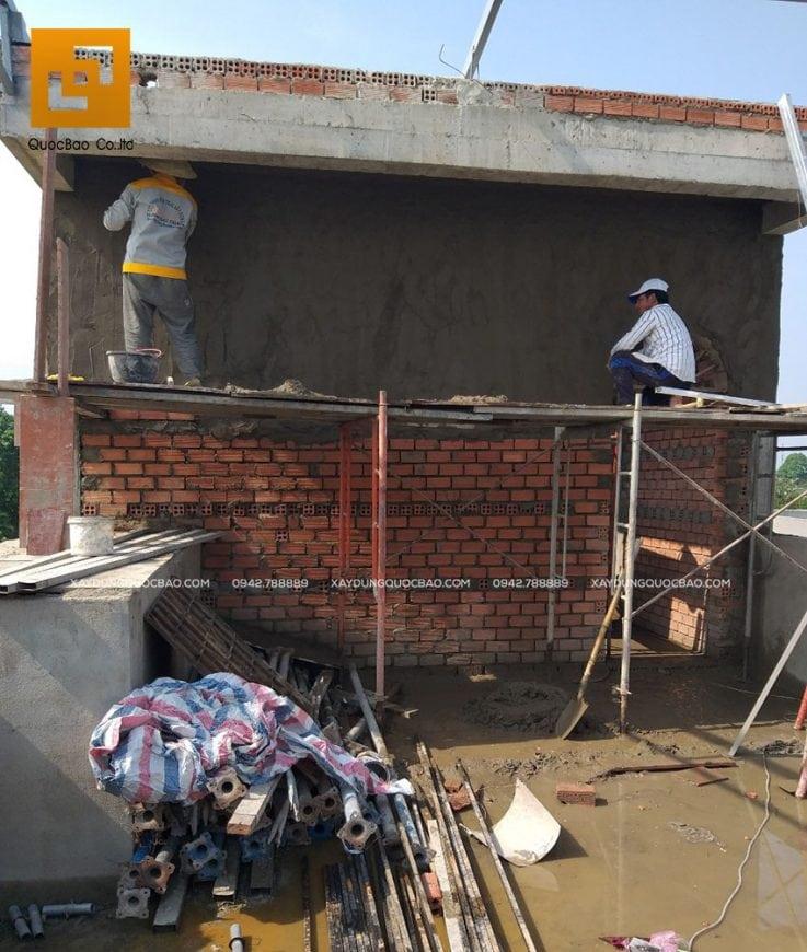 Thi công tô trát tường phòng thờ tại sân thượng