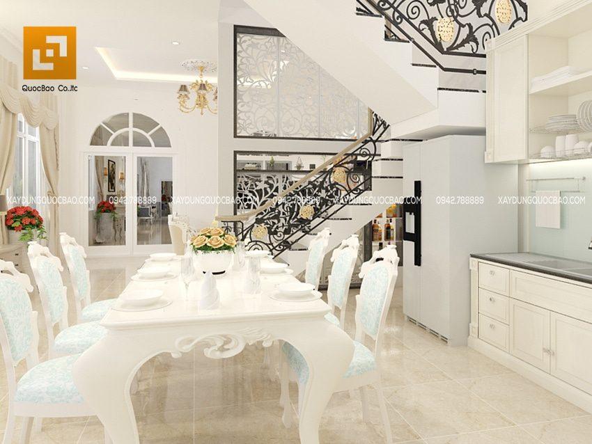 Phòng ăn được bố trí trong nhà bếp rất tiện lợi cho các thành viên cả gia đình quây quần cạnh nhau bên bữa cơm ấm áp