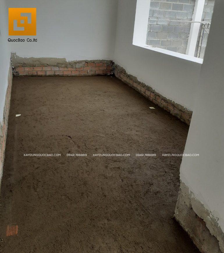 Công tác láng nền tạo mặt phẳng để chuẩn bị lót gạch nền