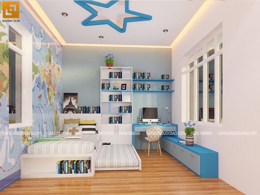 Phòng ngủ của bé trai được thiết kế gam màu xanh dương mạnh mẽ. Phù hợp với cá tính năng động của trẻ