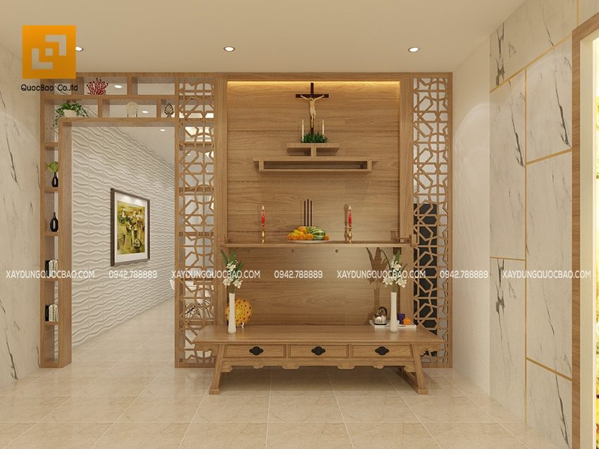 Phòng thờ trang nghiêm tại tầng tum sử dụng nội thất gỗ sang trọng