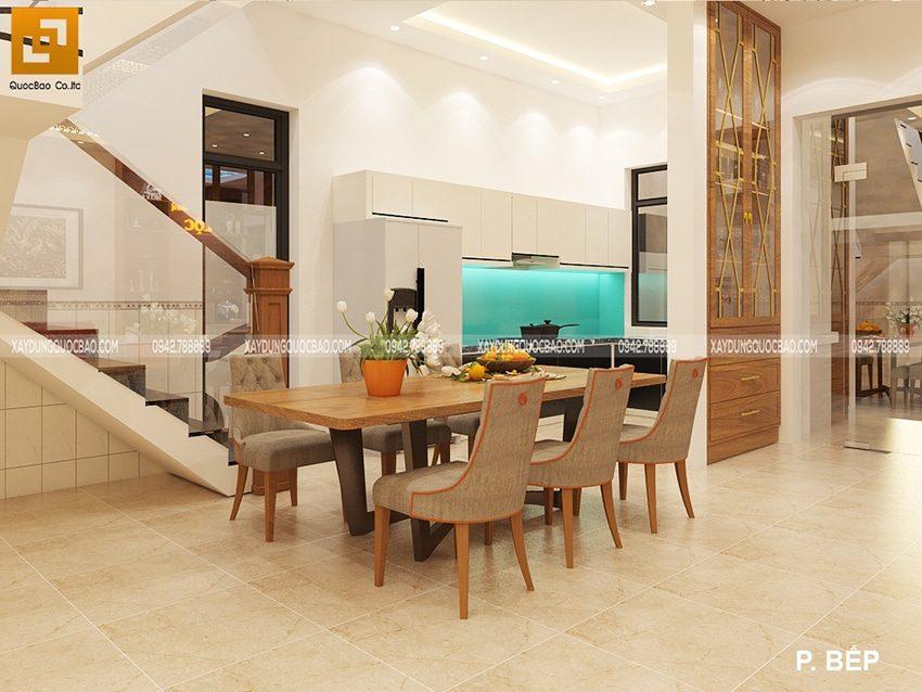 Không gian nội thất phòng bếp bên trong biệt thự