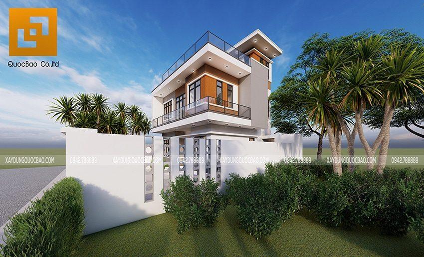 Lan can dùng kính cường lực trong suốt tạo nét hiện đại cho Villa