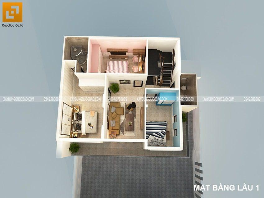 Lầu 1 gồm 3 phòng ngủ: Bố mẹ, con trai, con gái và 1 phòng sinh hoạt chung ngay giữa tầng