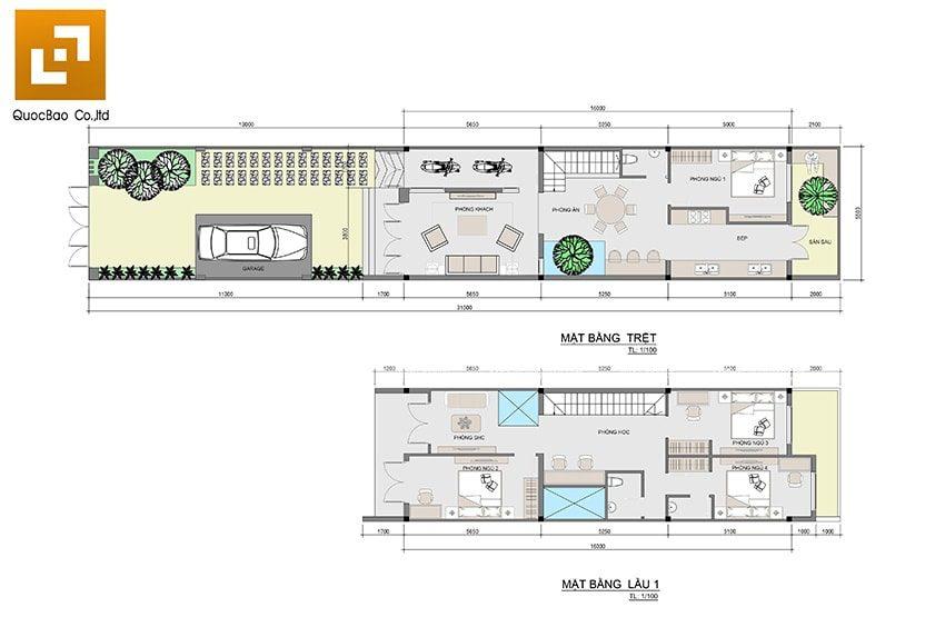 Mặt bằng bố trí công năng sử dụng các phòng nhà phố 2 tầng 1 tum