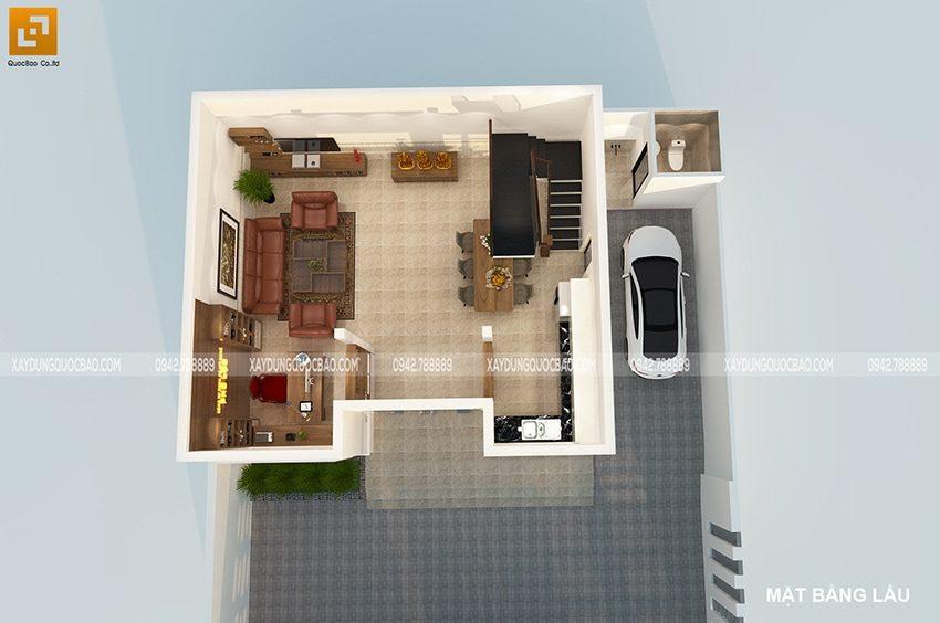 Tầng trệt biệt thự là nơi văn phòng công ty Phú Lộc làm việc và kèm theo phòng khách, khu vực bếp ăn
