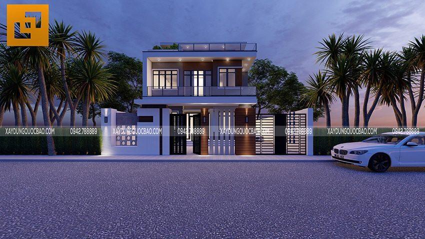 Mặt tiền Villa rộng rãi, lên đến 10m. Cổng nhà phía trước sân được thiết kế với nhiều họa tiết ấn tượng