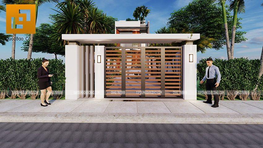 Cổng nhà được thiết kế đơn giản nhưng hài hòa và duyên dáng