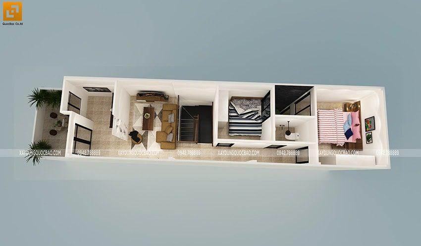 Bố trí công năng sử dụng nội thất lầu 1 của nhà phố 2 tầng hiện đại