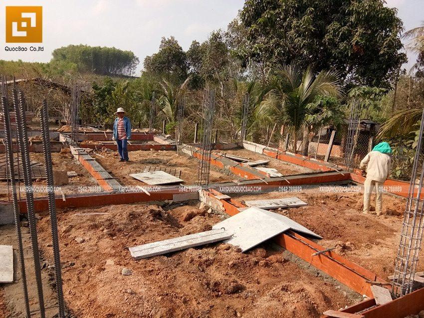 Công tác đổ bê tông dầm tầng trệt