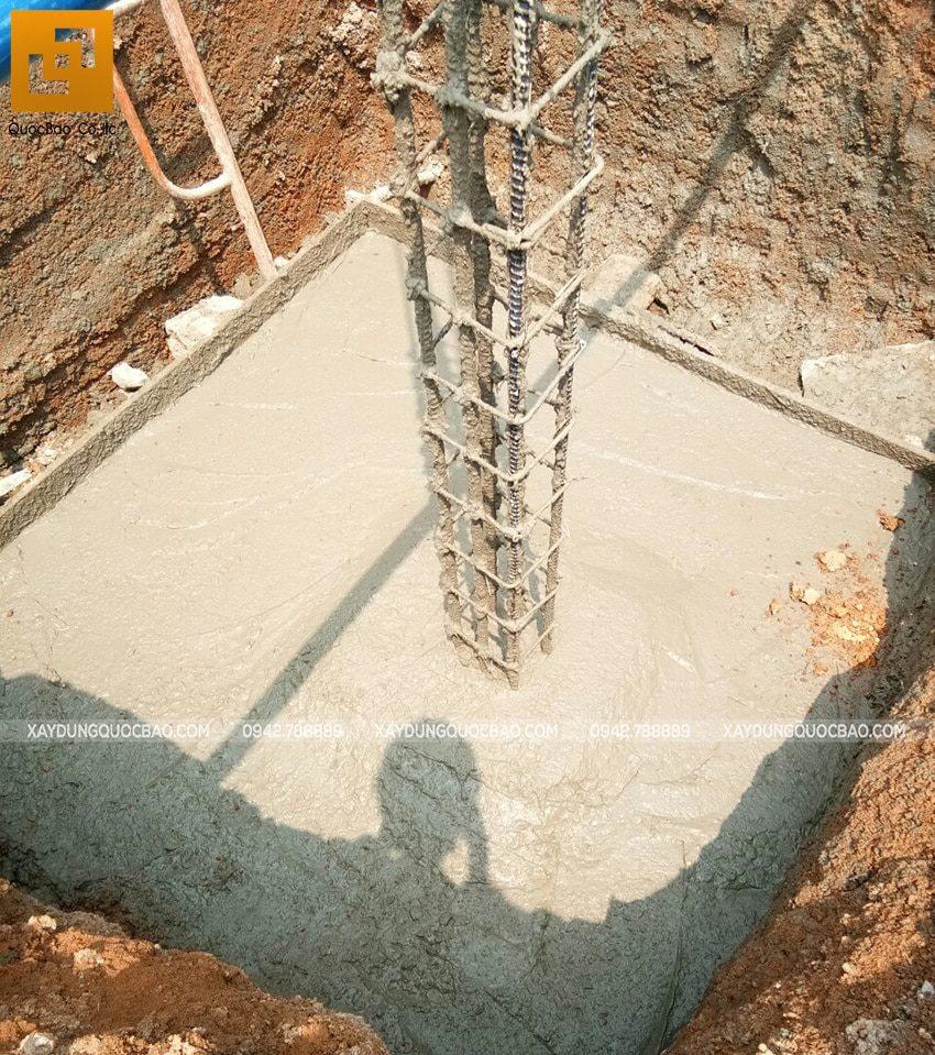 Công tác đổ bê tông móng nhà