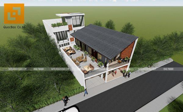 Không gian quán café ngoài trời bố trí vật dụng đơn giản, tối ưu ánh sáng và gió thiên nhiên