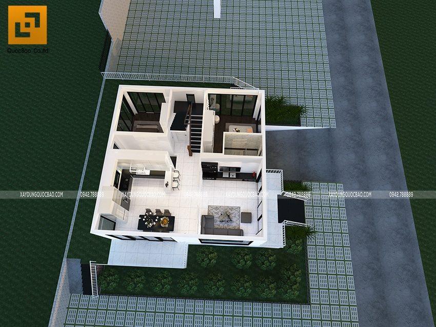 Mặt bằng bố trí công năng sử dụng tại tầng trệt