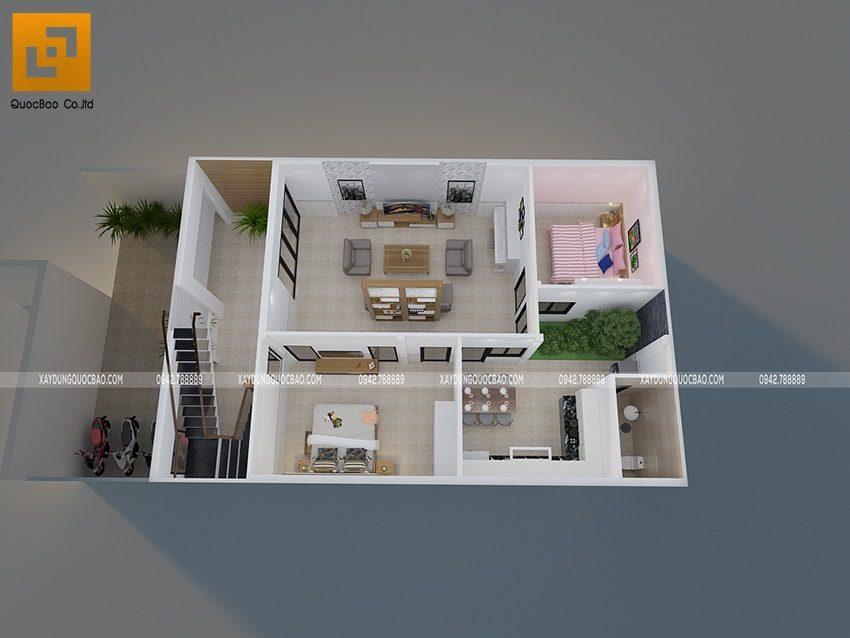Mặt bằng bố trí vật dụng nội thất tầng trệt nhà phố