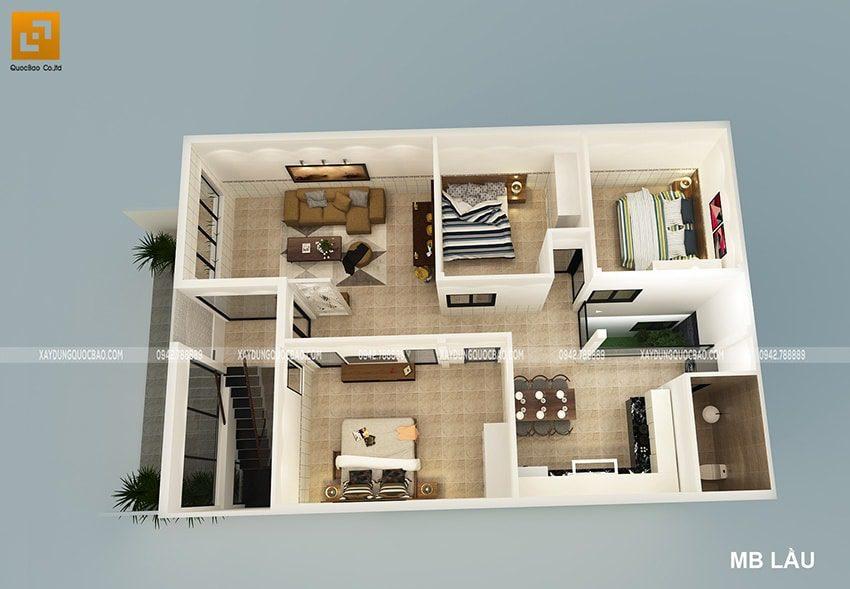 Mặt bằng công năng sử dụng nội thất tại lầu 1