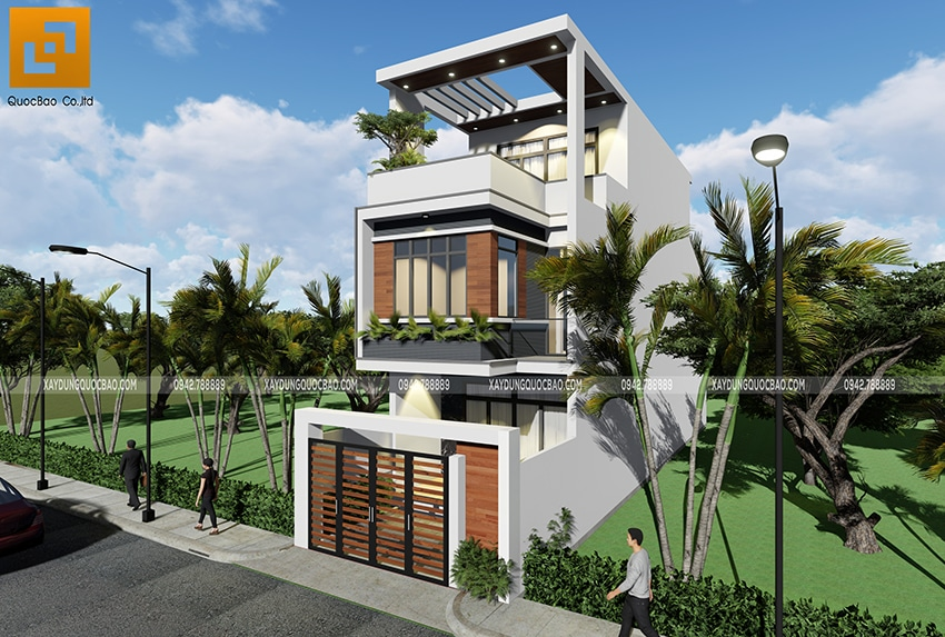 Với mặt tiền 5m, thiết kế này làm cho kiến trúc ngôi nhà trở nên sang trọng, hiện đại