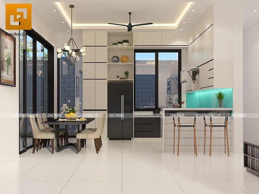 Nội thất phòng bếp kết hợp với nhà ăn tại tầng trệt