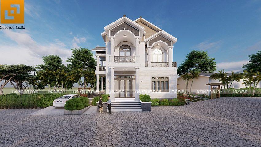 Công trình biệt thự nhà vườn 2 tầng mái thái tại Vĩnh Cửu của gia đình chị Hoàng
