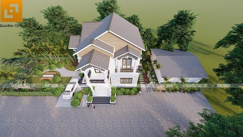 Phối cảnh tổng thể thiết kế biệt thự 2 tầng đẹp