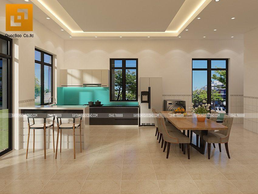 Phối cảnh nội thất phòng bếp kết hợp nhà ăn tại tầng trệt