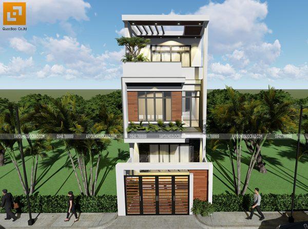 Thiết kế kiến trúc nhà phố 3 tầng mặt tiền 5m tại Đồng Nai của anh Tấn