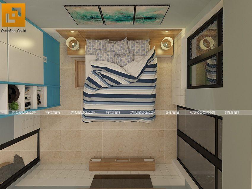 Phòng ngủ của bé trai được thiết kế với gam màu xanh mạnh mẽ