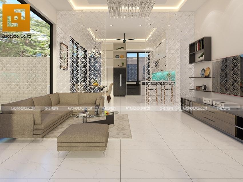 Không gian nội thất phòng khách hiện đại, đủ vật dụng tiện nghi