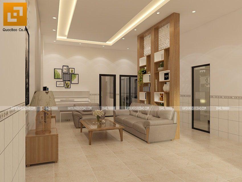 Thiết kế phòng khách đầy đủ tiện nghi, phối màu sáng làm nổi bật họa tiết, vật dụng trang trí bên trong phòng