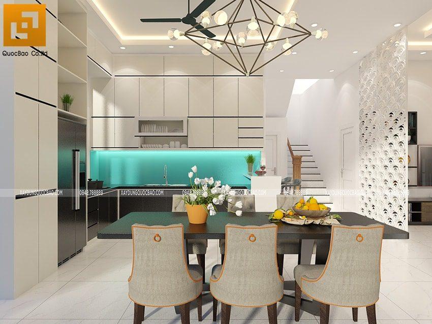 Vách ngăn CNC chân cầu thang ngăn cách phòng khách và phòng bếp