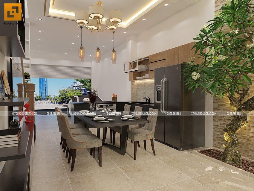 Bàn ăn sang trọng đặt ngay chính giữa phòng bếp đầy đủ tiện nghi