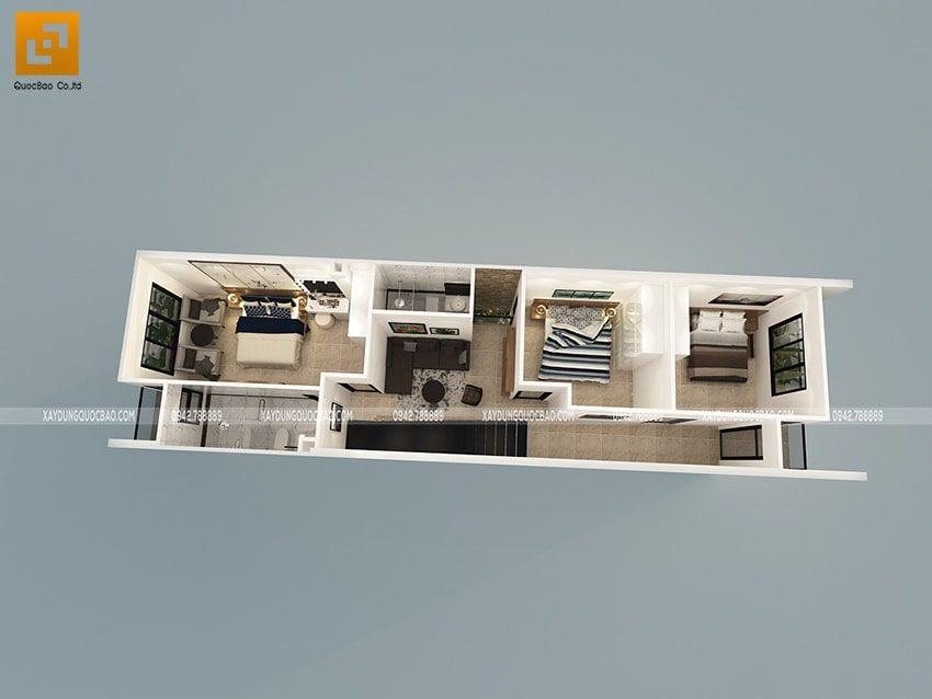 Phối cảnh mặt bằng nội thất lầu 1 nhà ống 3 tầng